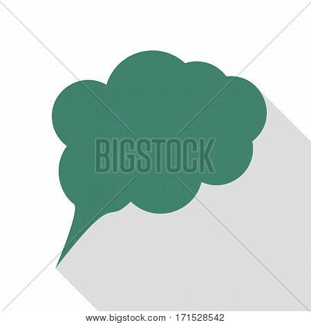 Speach bubble sign illustration. Veridian icon with flat style shadow path.
