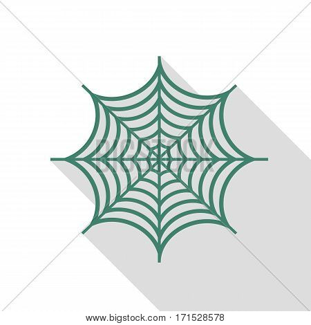 Spider on web illustration. Veridian icon with flat style shadow path.