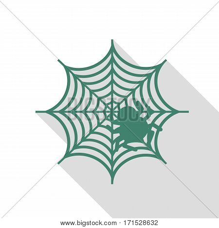 Spider on web illustration Veridian icon with flat style shadow path.