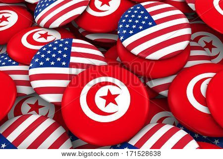 Usa And Tunisia Badges Background - Pile Of American And Tunisian Flag Buttons 3D Illustration