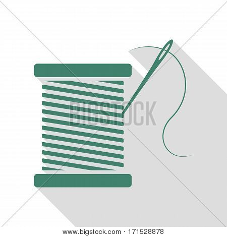 Thread with needle sign illustration. Veridian icon with flat style shadow path.