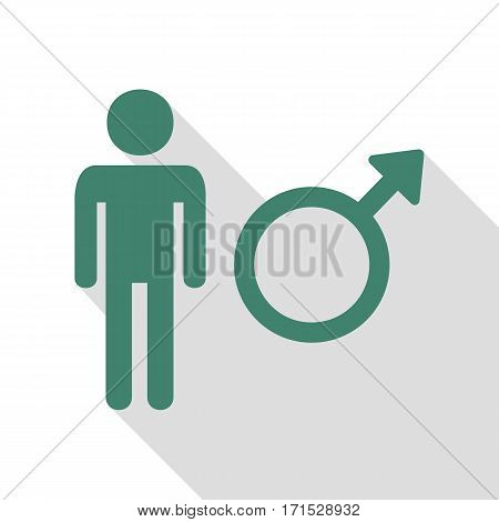 Male sign illustration. Veridian icon with flat style shadow path.