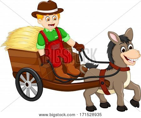 funny farmer cartoon carrying grass with horse drawn carriage