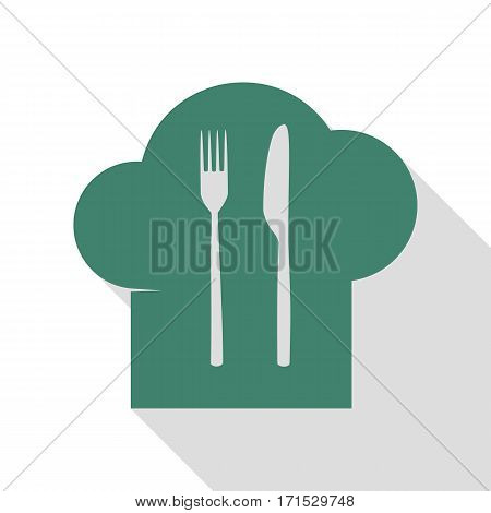 Chef hat and spoon, fork, knife sign. Veridian icon with flat style shadow path.