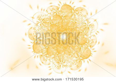 Abstract Fiery Exotic Flower With Glowing Sparkles On White Background. Fantasy Fractal Design In Or