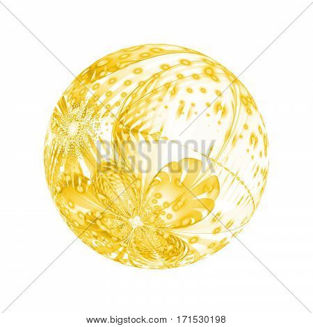 Abstract Ornamented Sphere With Flowers And Dots On White Background. Fantasy Fractal Design In Yell