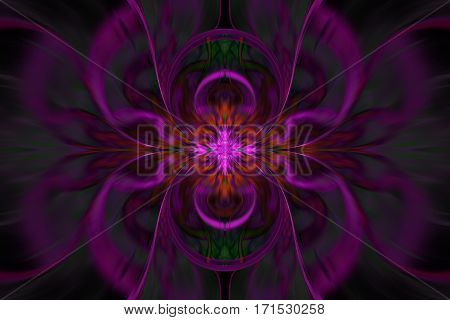 Abstract Fantasy Exotic Flower. Psychedelic Symmetrical Design In Dark Red, Pink, Green And Black Co