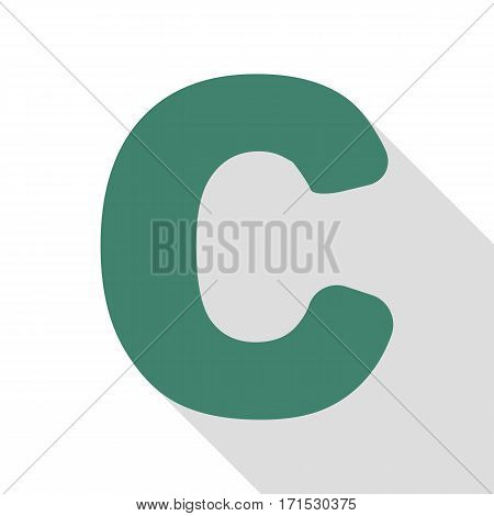 Letter C sign design template element. Veridian icon with flat style shadow path.