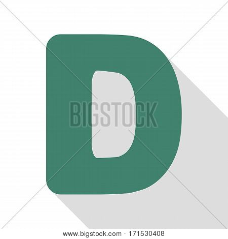 Letter D sign design template element. Veridian icon with flat style shadow path.