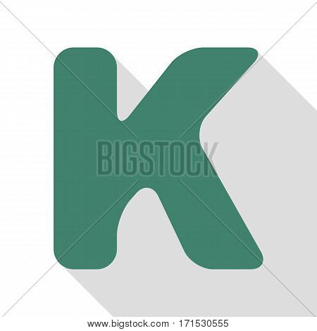 Letter K sign design template element. Veridian icon with flat style shadow path.
