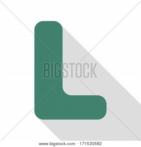Letter L sign design template element. Veridian icon with flat style shadow path.