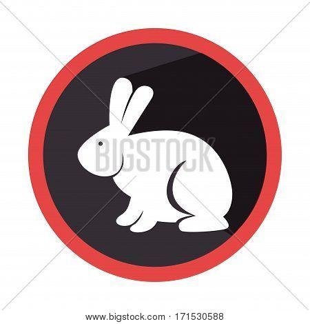 circular shape with silhouette rabbit with long ears vector illustration
