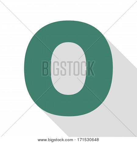 Letter O sign design template element. Veridian icon with flat style shadow path.