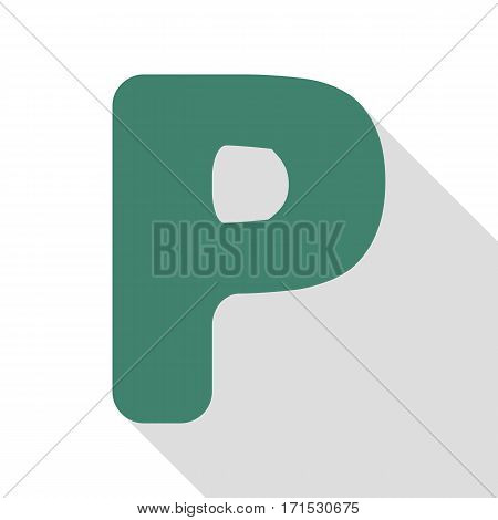 Letter P sign design template element. Veridian icon with flat style shadow path.