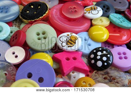 Buttons, lots of buttons. Colourful colorful buttons for sewing and craft