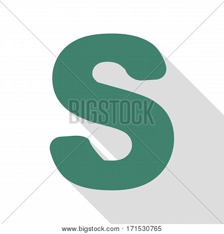 Letter S sign design template element. Veridian icon with flat style shadow path.