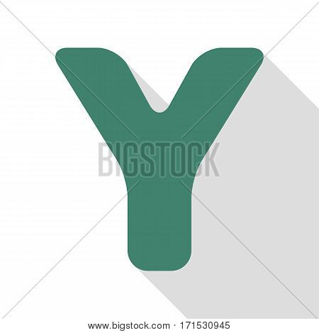 Letter Y sign design template element. Veridian icon with flat style shadow path.