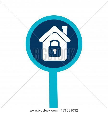 loupe with silhouette house with padlock vector illustration