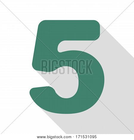 Number 5 sign design template element. Veridian icon with flat style shadow path.