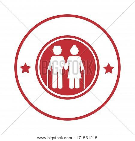 circular border with pictogram elderly couple with walking stick vector illustration