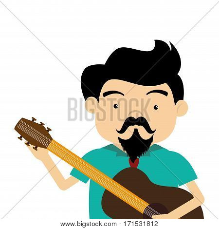 colorful half body singer with acoustic guitar vector illustration