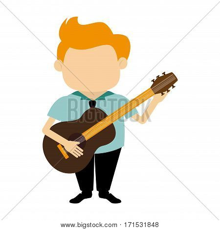 colorful silhouette faceless singer with acoustic guitar vector illustration
