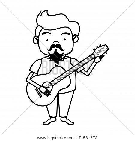 contour singer with acoustic guitar vector illustration
