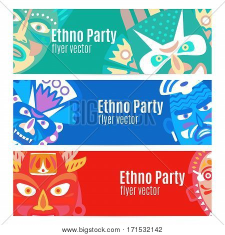 Ethno party flyers banners with masks, vector set