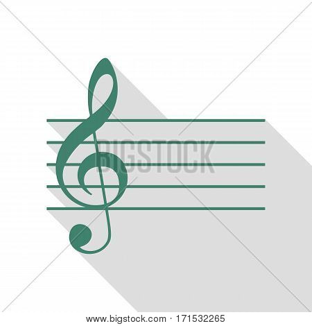 Music violin clef sign. G-clef. Veridian icon with flat style shadow path.