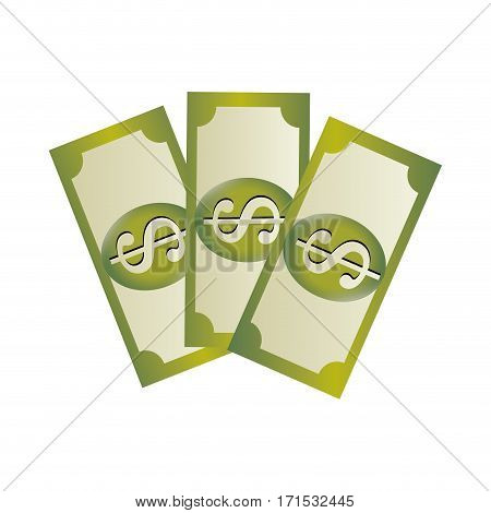 set collection banknote with dollar sign vector illustration