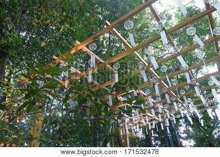 Japanese Wind Chimes on Ceiling Fence in a Garden