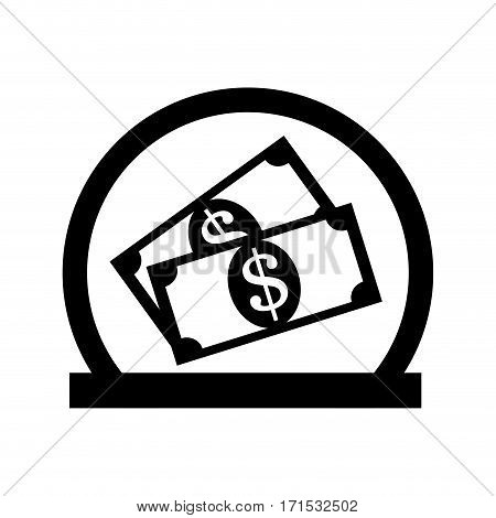 set collection banknote with dollar sign in half circular frame vector illustration