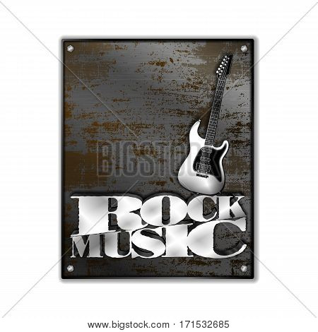 Rusty metal sheet iron rock music. Isolated objects on a white background can be used with any image or text.