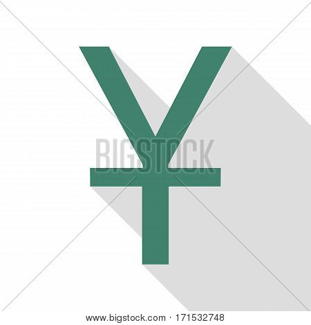 Chinese Yuan sign. Veridian icon with flat style shadow path.