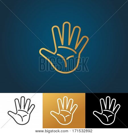Open hand vector icon in four variations. Human arm illustration