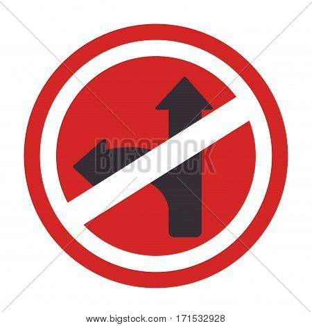 circular contour road sign prohibited turn right vector illustration