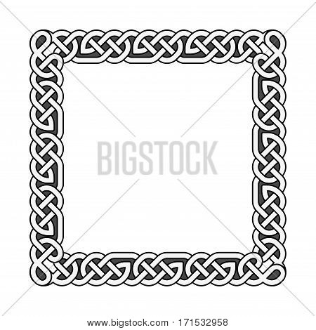 Square celtic knots vector medieval frame in black and white. Traditional frame pattern illustration