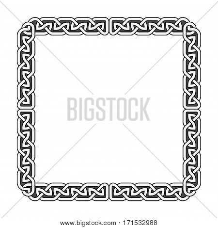 Celtic knots vector medieval frame in black and white. Ornament ancient tribal elements illustration