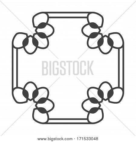 Square asian vector retro frame in black and white with floral elements illustration