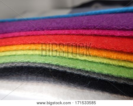 Colorful Fabrics Samples At A Tailors Workshop