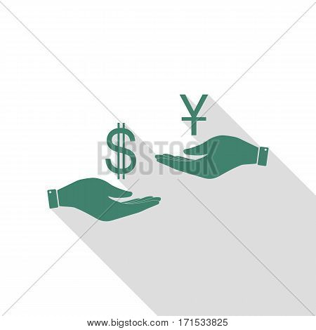 Currency exchange from hand to hand. Dollar and Yuan. Veridian icon with flat style shadow path.