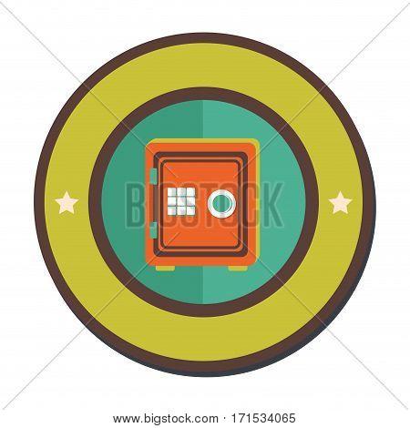 colorful circular border with metal strong box vector illustration