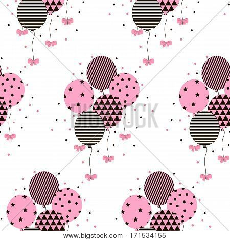 Vector Illustration of a Happy Birthday Greeting Card. Vector flat illustration with balloons and bow. Seamless pattern with balloons.