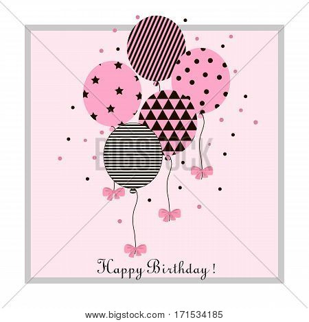 Vector Illustration of a Happy Birthday Greeting Card. Vector flat illustration with balloons and bow.