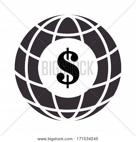 sphere with meridians and mesh with dollar symbol vector illustration
