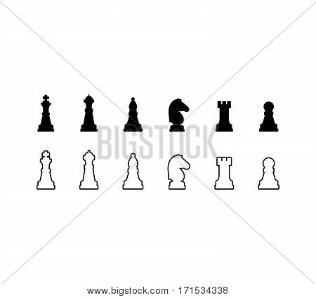 Chess pieces black and white icons set. Vector illustration