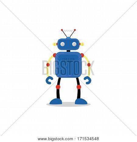Blue roboticon, isolated on whitebackground. Vector illustration