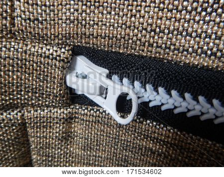 Detail Of A Zipper On A Fabric