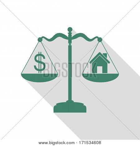 House and dollar symbol on scales. Veridian icon with flat style shadow path.
