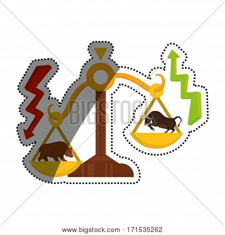 Stock market bull and bear icon vector illustration graphic design